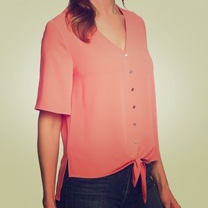 Flutter Sleeve Tie Front Blouse CHAUS